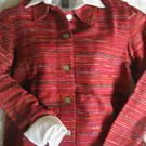 NEW COLDWATER CREEK RED TEXTURE STRIPE JACKET xs XSMALL