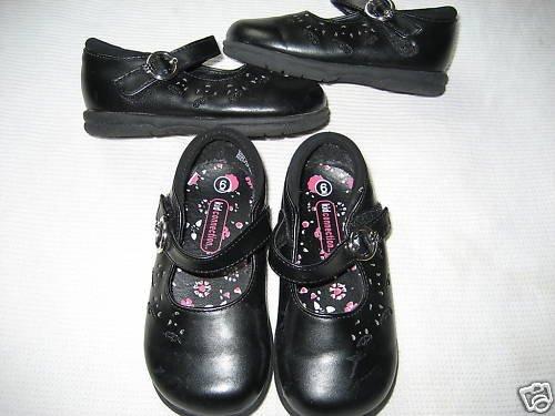 TODDLER GIRLS KIDS TWINS BLACK VELCRO MARY JANES LOT 6