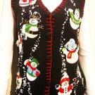 new DANCING SNOWMEN PEARL BLING CHRISTMAS SWEATER L XL