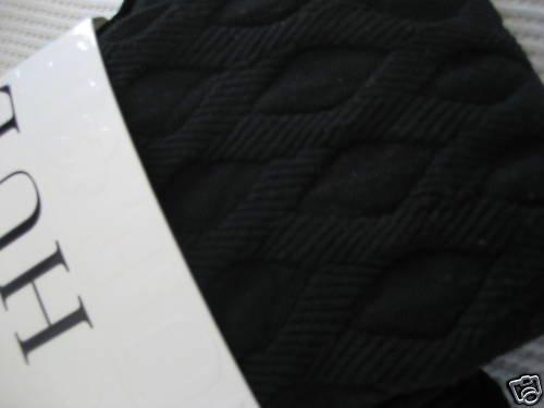 NWT NEW HUE HEAVY PATTERN DIAMONDS BLACK KNIT S/M