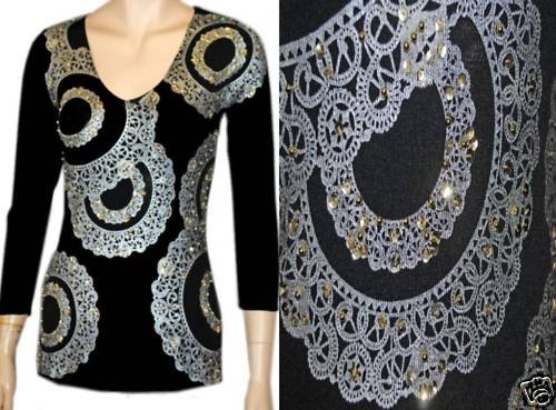 NEW BOSTON PROPER EMBELLISHED JEWEL SEQUIN SWEATER TOP