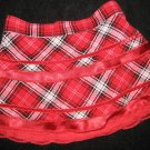 NEW GIRLS PLAID RIBBON LACE VELVET SKIRT TIERED HOLIDAY