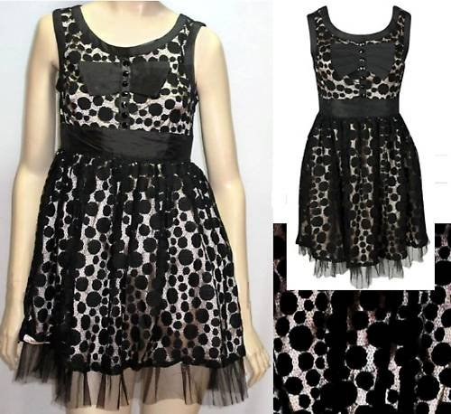 FOREVER 21 SEXY CHAMPAGNE&BLACK LACE NET  DRESS S M L