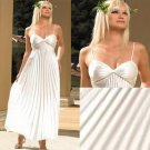 IVORY SATIN PLEATED LONG GReCiAN BRiDAL GOWN S/M  M/L