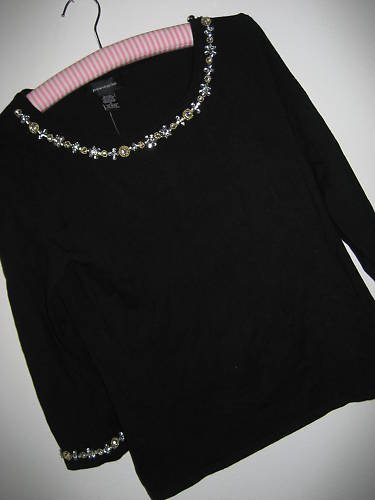 NEW SILK BEADED EMBELLISHED BLACK SWEATER TOP  M