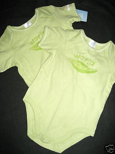 "NEW 18MO GIRLS OR BOYS TWINS ""PEAS IN POD"" ROMPER  LOT"