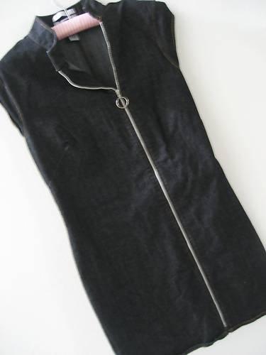 OLD NAVY BLACK STRETCH DEMIN RING ZIPPER DRESS HOT! 8