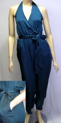 NEW FOREVER 21 SEXY HALTER SILKY RETRO JUMPSUIT S M L