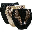 NWT SEXY SATIN PANTY HI CUT LEG BRIEF UNDERWEAR 8 XL