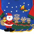UGLY CHRISTMAS SANTA SWEATER PUFFY RED NOSE REINDEER L