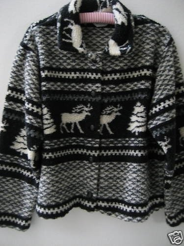 UGLY CHRISTMAS SWEATER TOP BLACK REINDEER TRESS UCK!