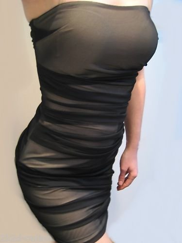 SEXY VICTORIA SECRET MESH OVER NUDE TUBE COCKTAIL DRESS