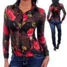 SeXy 100% BLACK SILK FITTED SHEER BLOUSE RED ROSES