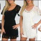 NEW WOMENS  LACE COCKTAIL SWING MiNi DRESS TUNIC S M L