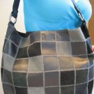 NWT LUCKY BRAND LARGE BLACK LEATHER PATCHWORK MAILBAG TOTE PURSE BAG