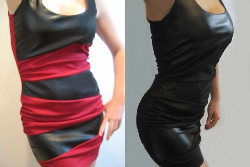 SeXy RUCHED FITTED COLORBLOCK BLACK RED WET VINYL BODYCON BANDAGE MINI DRESS