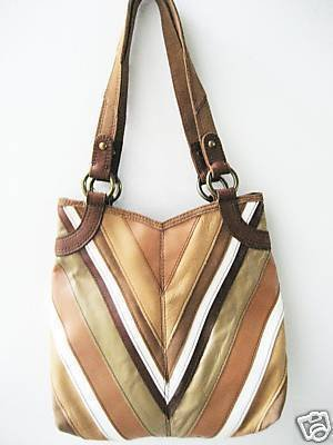 NWT LUCKY BRAND BROWN RETRO MOD VINTAGE CHEVRON PURSE HANDBAG LEATHER BAG