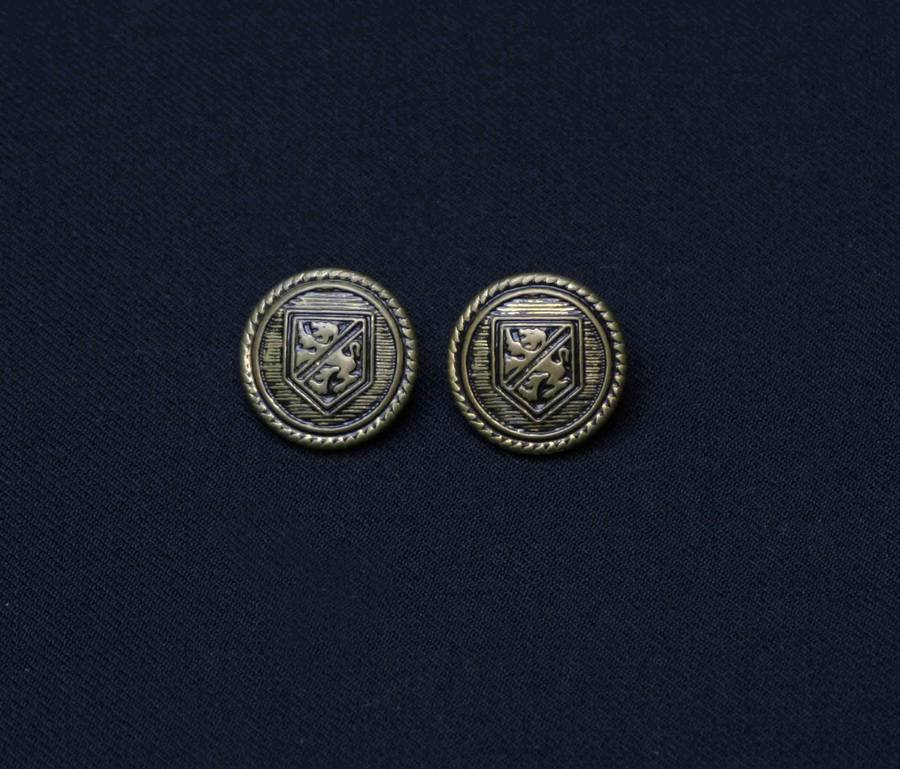 Two Marcello Milanelli Blazer Buttons Replacement Shank Antique Brass