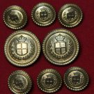 Waterbury Enrico Fratelli Blazer Buttons Set Replacement Brass Gold Shank Men's