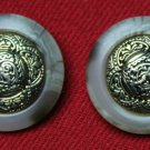 Two Oleg Cassini Blazer Buttons Shank Marbleized Plastic With Metal Inlay