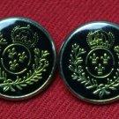 Two Blazer Buttons Gold & Black Crown Laurel Fleur de Lis Plastic