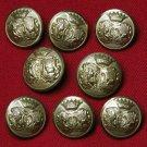 Mens Vintage Augsburg Blazer Buttons Set Brass Shank Gold