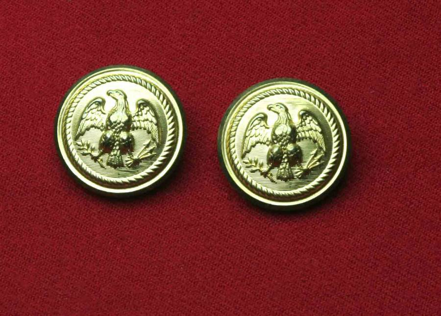 Two Waterbury Blazer Buttons Shank Replacement Brass Metal Gold