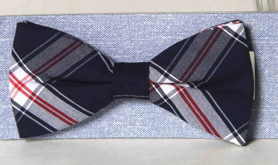 Madras Bow Tie Cotton Red White Blue One Size