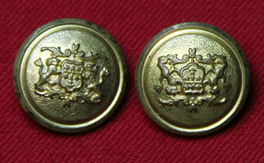 Two Vintage Waterbury Jack Krawcheck Blazer Buttons Replacement Brass Gold