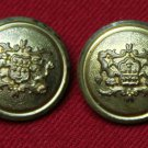 Two Waterbury Jack Krawcheck Blazer Buttons Replacement Brass Vintage