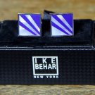 Ike Behar Cuff Links Silvered Color Blue Faux Mother of Pearl Men's