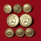 Caldera Blazer Buttons Set Gold Brass Knight & Shield Shank Men's