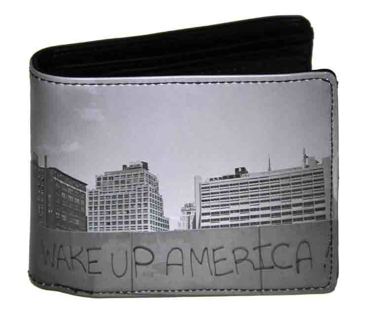 Kothai Licensed Wake Up America Wallet Bi-Fold Gray Men's