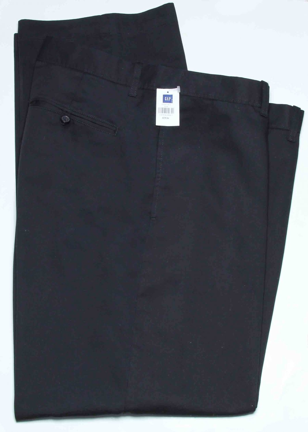 Men's Gap Pants Black Chinos Flat Front Relaxed Fit Size 42 X 34
