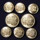 Waterbury Vintage Blazer Buttons Set Gold 1980s Brass Shank Men's