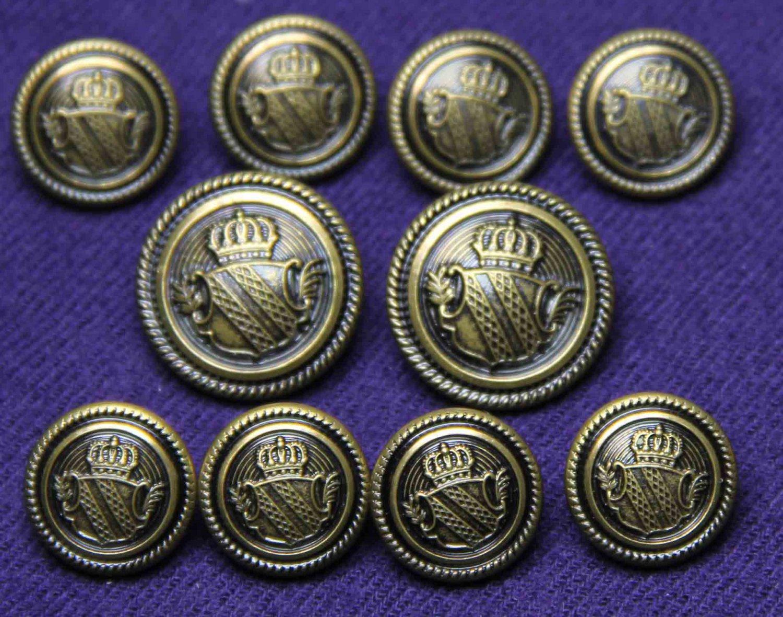 Men's Waterbury Blazer Buttons Set Antique Brass Vintage Gold Shield Shank