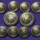 Waterbury Blazer Buttons Set Antique Brass Vintage Gold Shield Shank Men's