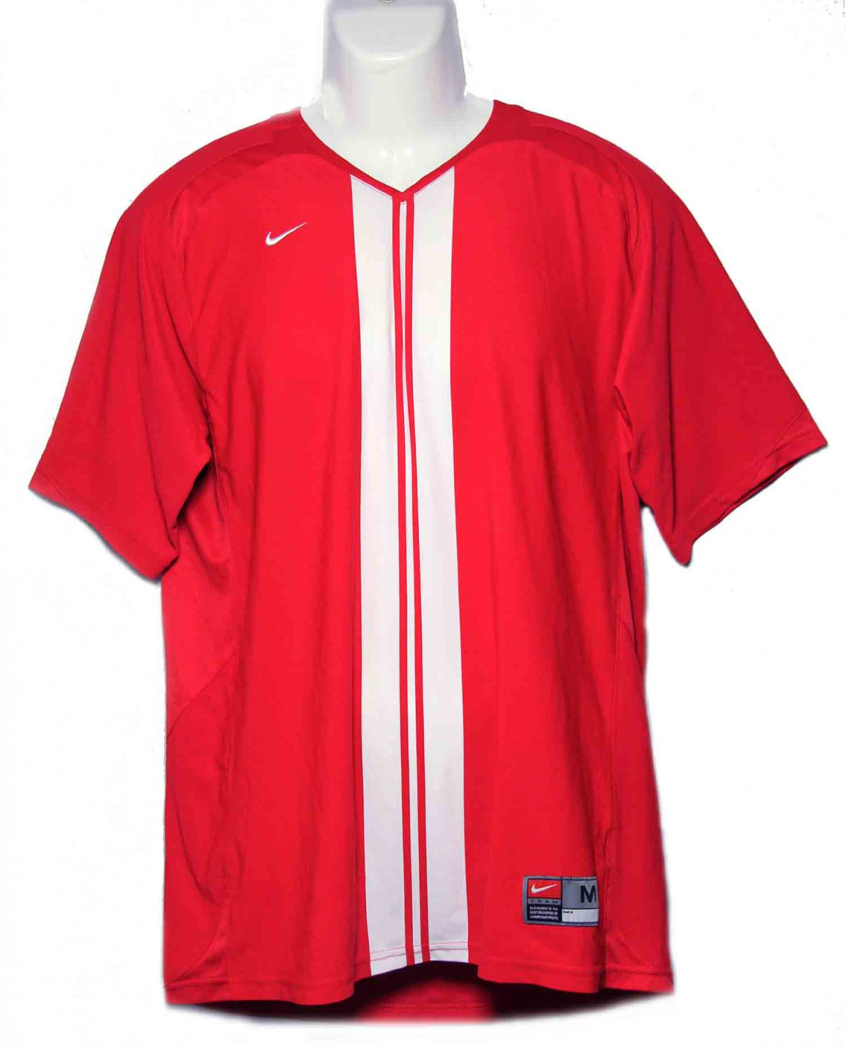 Men's Nike Dri-Fit Athletic Shirt Red White V-Neck Size M