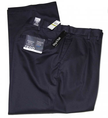 Men's Izod Wrinkle Free Chinos Pants Navy Size 44 X 29 Big Tall
