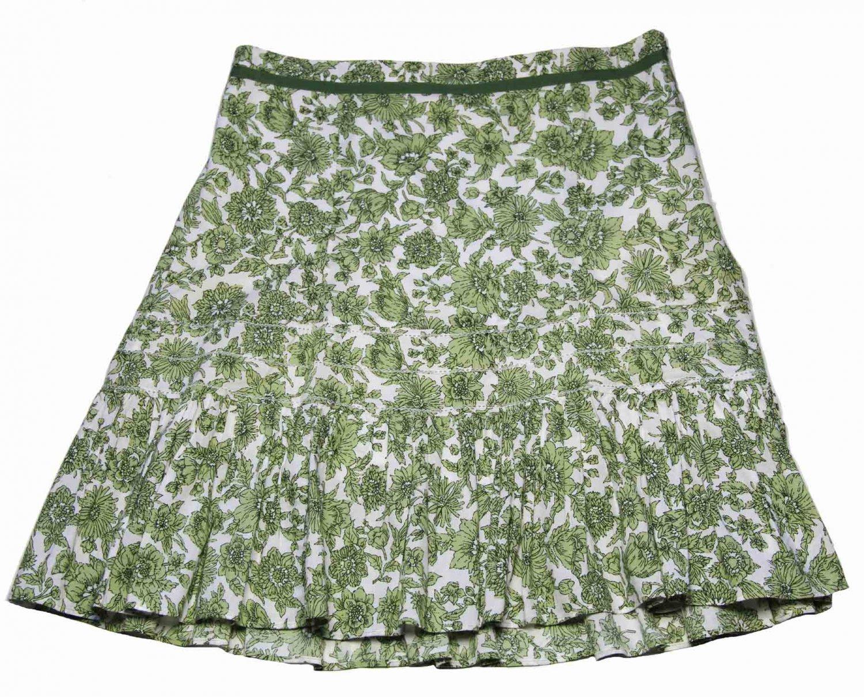 Women's Ann Taylor Floral Skirt Green White Size 4