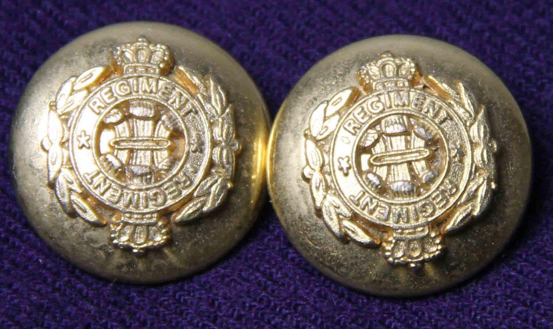 Two Men's Queen's Regiment Blazer Buttons Gold Brass Alloy