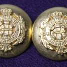 Two Men's Queen's Regiment Blazer Buttons Gold Brass Alloy