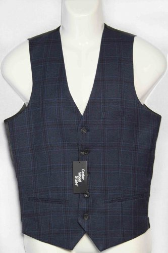 Men's Cedar Wood State Plaid Vest Navy Gray Size Slim Small