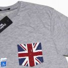 Cedar Wood State British Union Jack Flag T-Shirt Gray Men's Size Slim Large