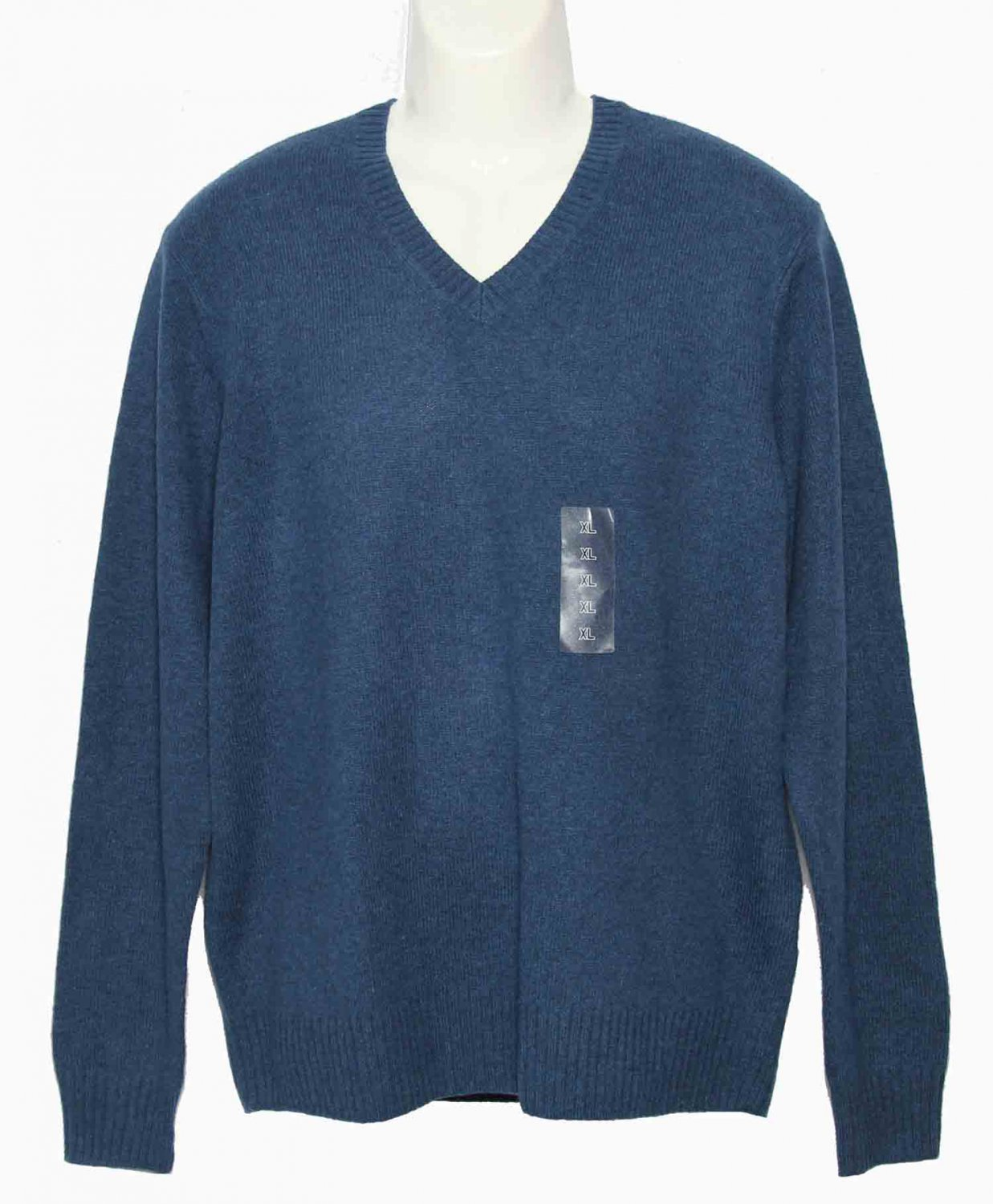 Mens Uniqlo Lambswool Blend Sweater Vneck Blue Size Slim XL