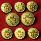 Mens Vintage Waterbury Blazer Buttons Set Gold Brass 1970s Sheep Weathervane