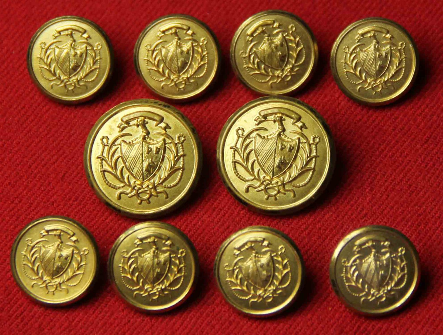Vintage Waterbury Blazer Buttons Set Gold Brass 1970s Men's