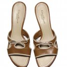 Cole Haan Sandals Shoes String Bow Brown Cream Women's Size 8.5 B