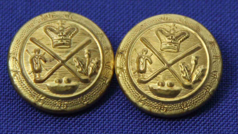 Two Mens Vintage Excelsior Blazer Buttons Gold Shank