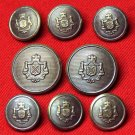 Vintage Caledonia Blazer Buttons Set Brown Tones Metal Crown Shield 1970s Men's
